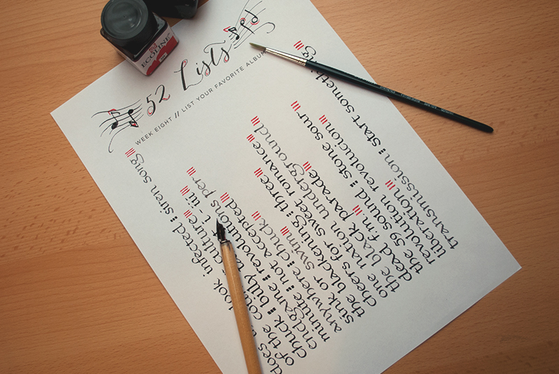 52 Lists // Week Eight // Calligraphy