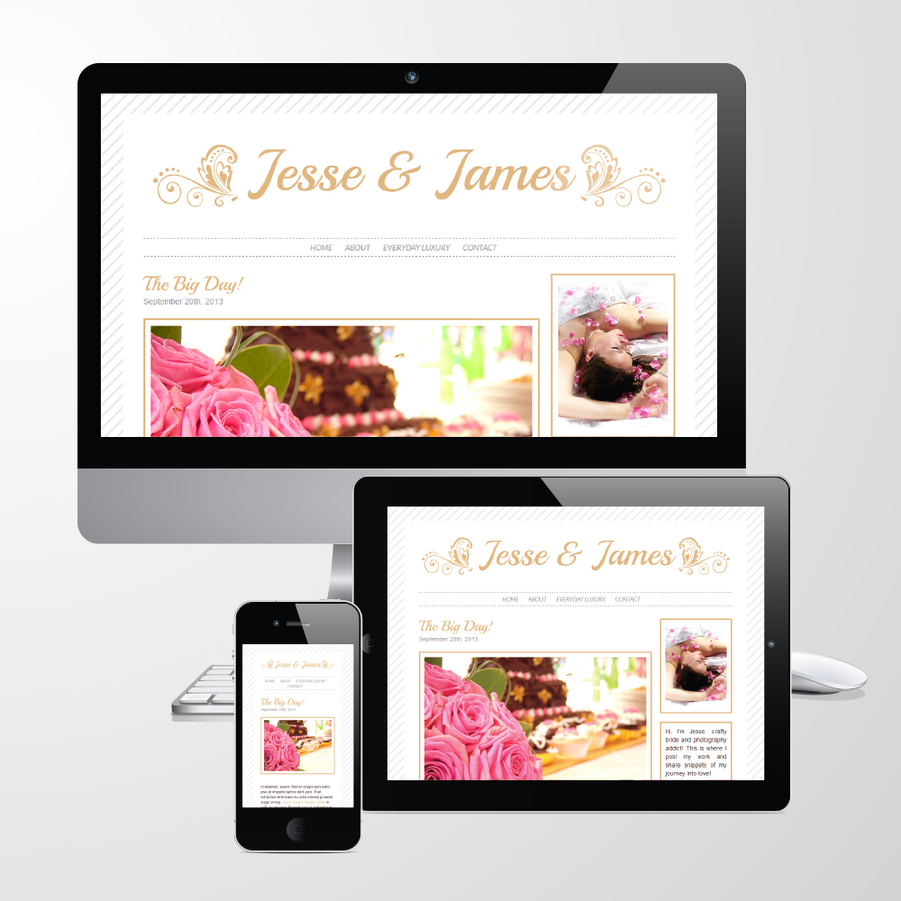 "Responsive WordPress Theme // Wedding // ""Jesse & James"""